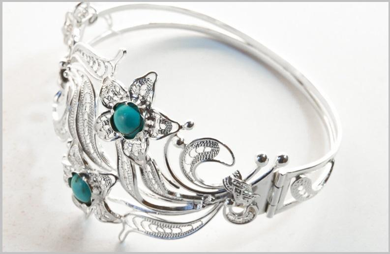 Серебряный браслет женский с малахитом