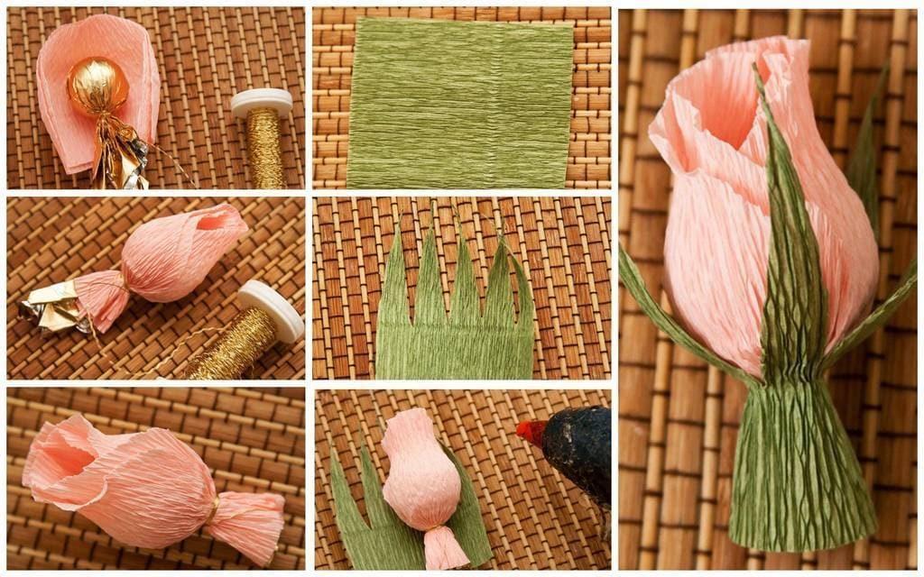 Как сделать цветок из конфет