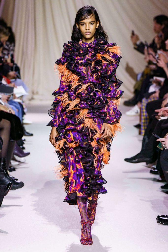 Mary Katrantzou яркое платье с рюшами