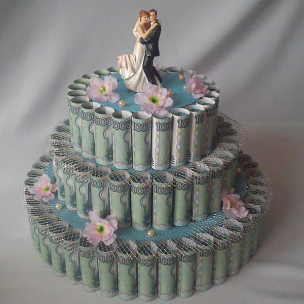 Денежный торт в подарок на свадьбу своими руками