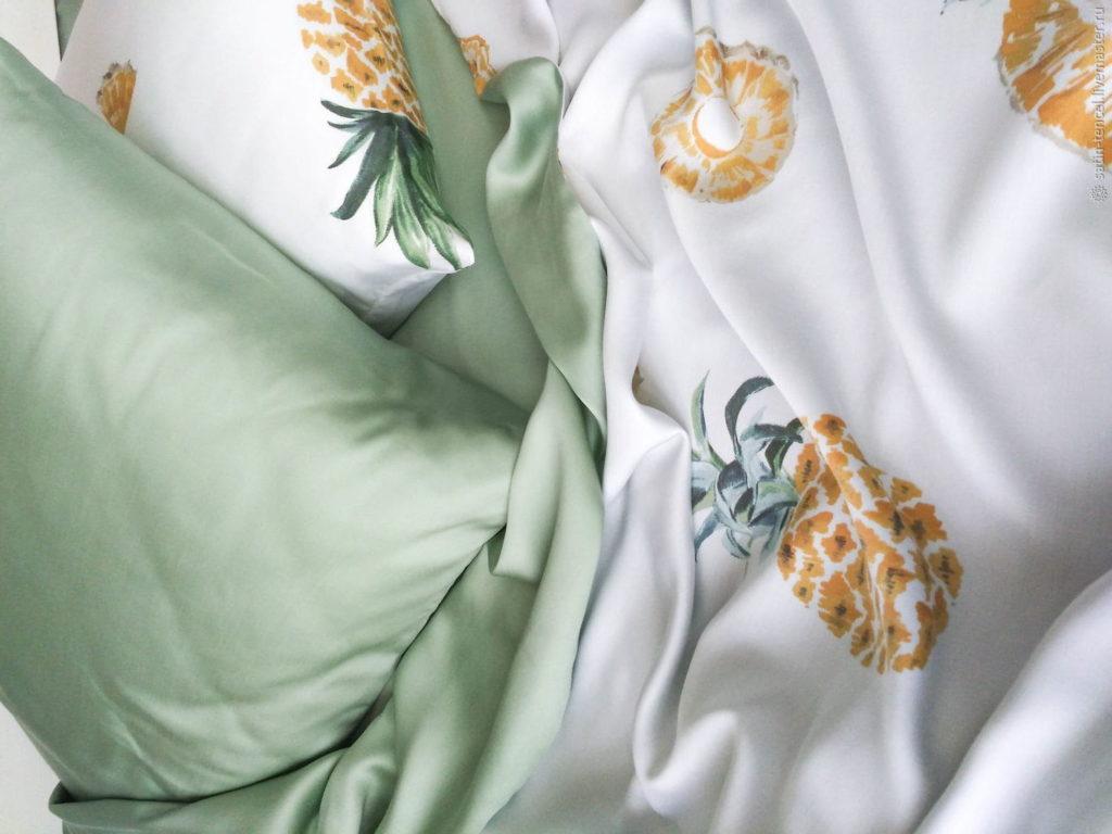 Ткань тенсель в расцветке ананас